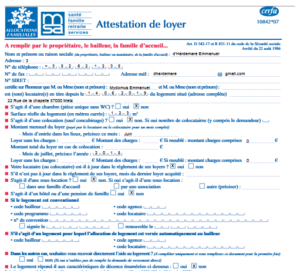 Attestation de loyer CAF
